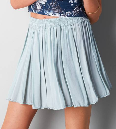 Ice Blue Don't Ask Why Pleated Circle Skirt