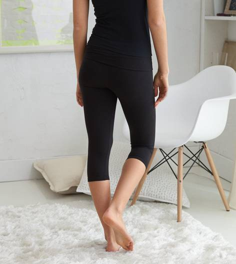True Black Aerie  Crop Yoga Pant