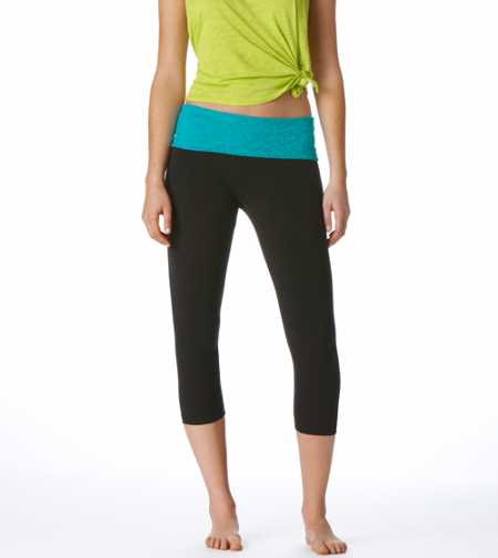 Aerie Slim Gym Yoga Lace Skinny Crop Pant
