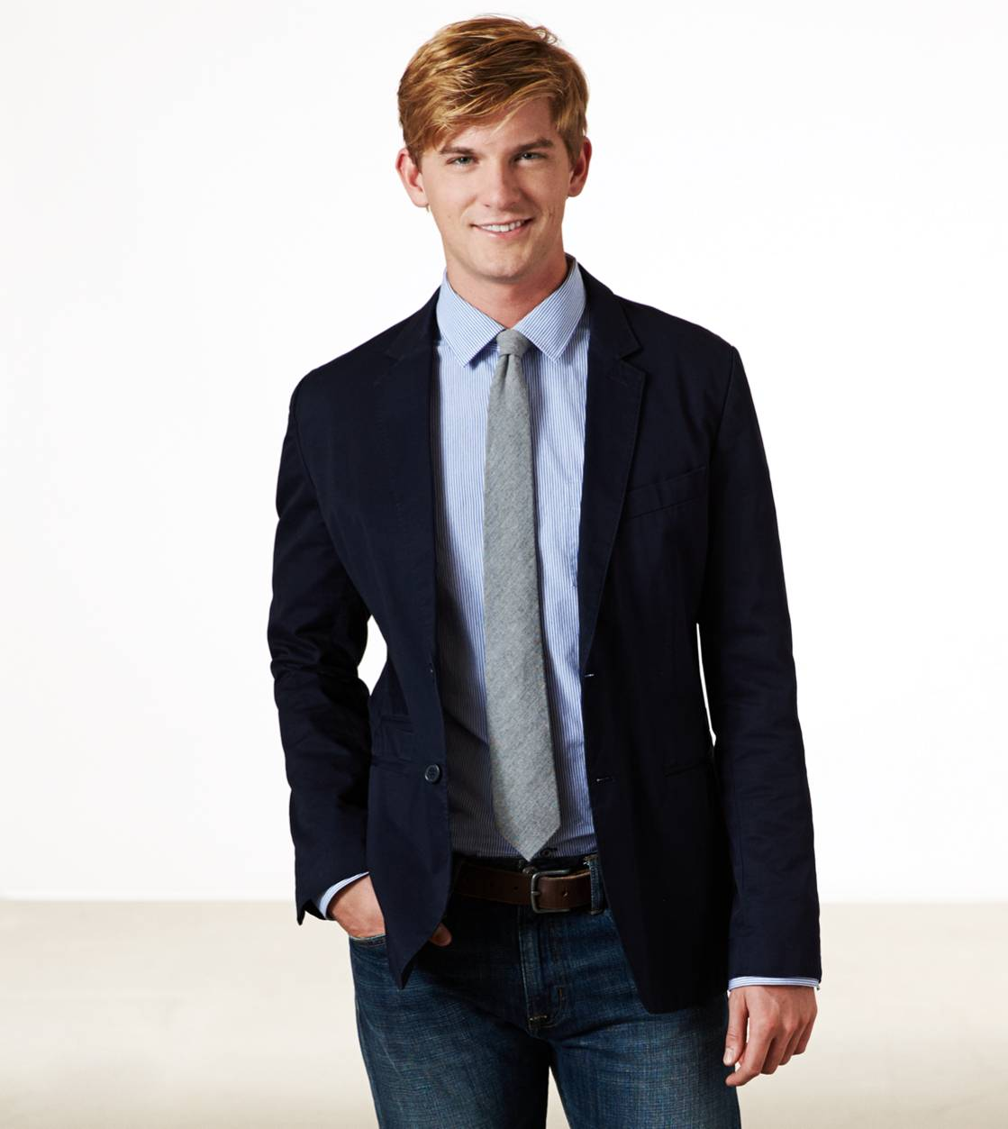 Navy AE Cotton Twill Blazer