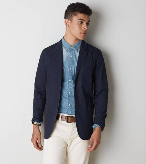 Navy AEO Cotton Blazer