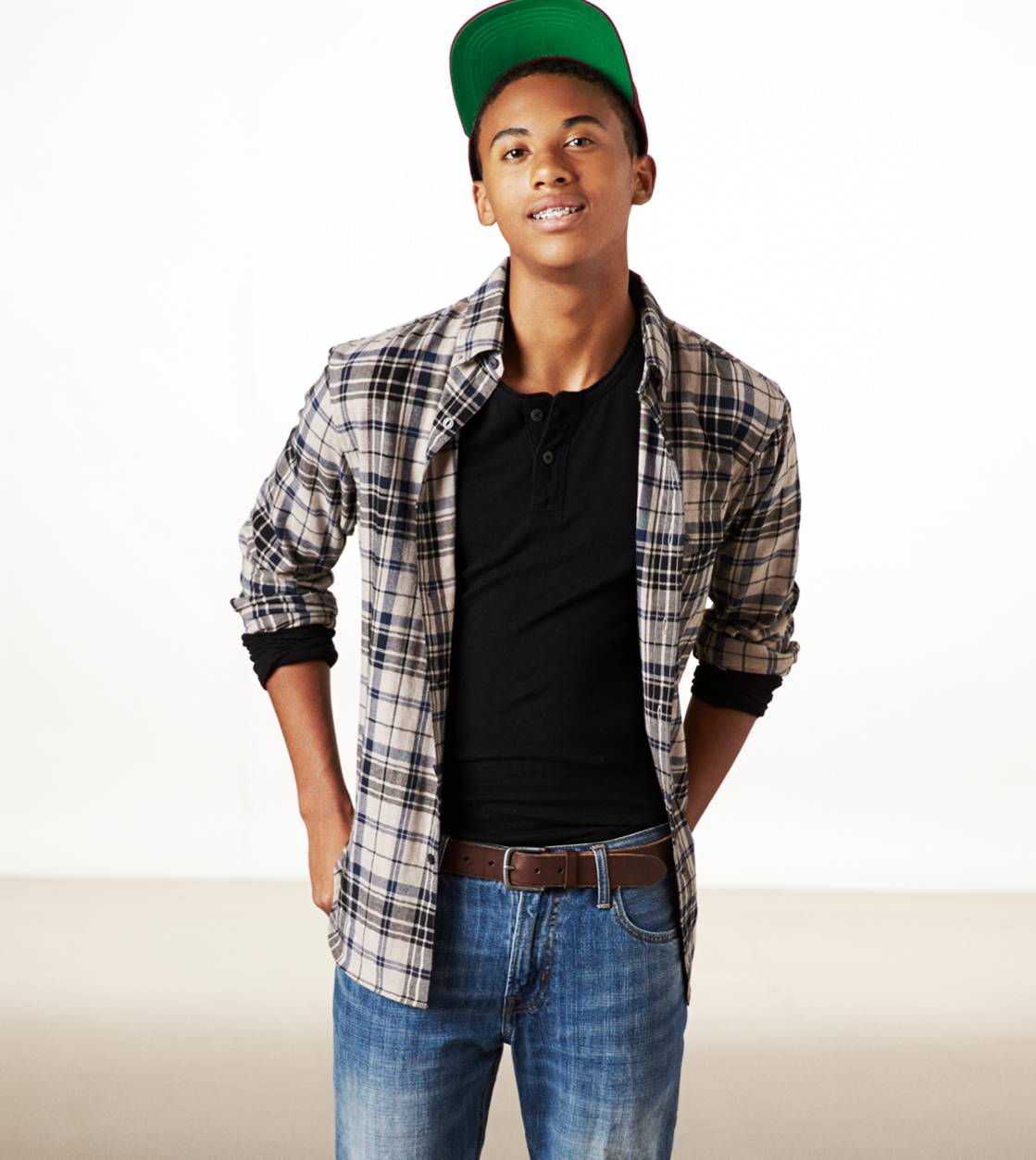 Khaki AE Epic Flannel Shirt