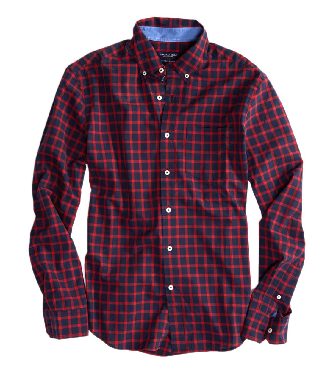 Red AE Plaid Button Down Shirt