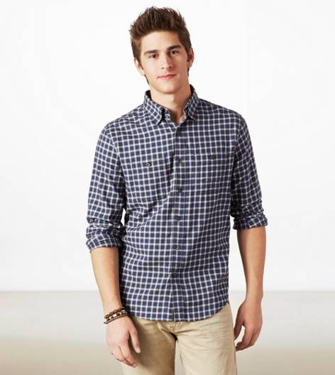 Navy AEO Plaid Button Down Shirt