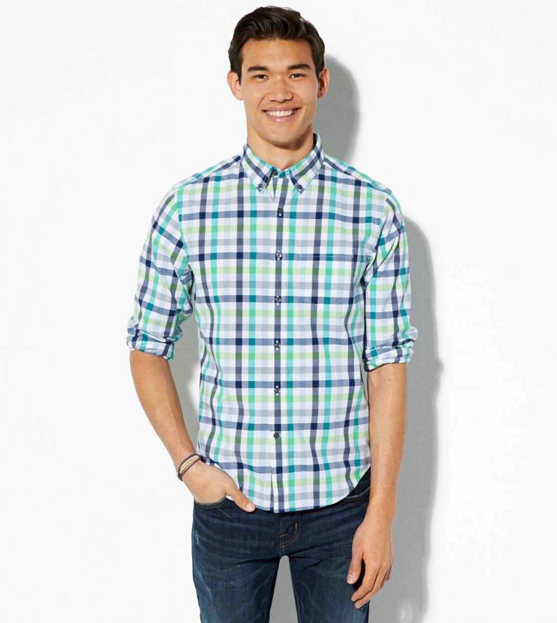 Green AE Plaid Button Down Shirt