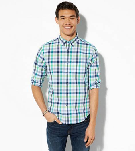 Green AEO Plaid Button Down Shirt