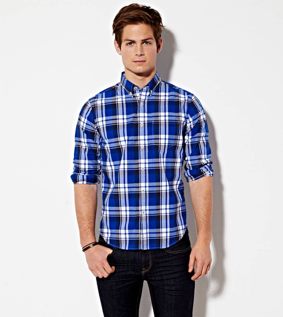 Blue AE Plaid Button Down Shirt