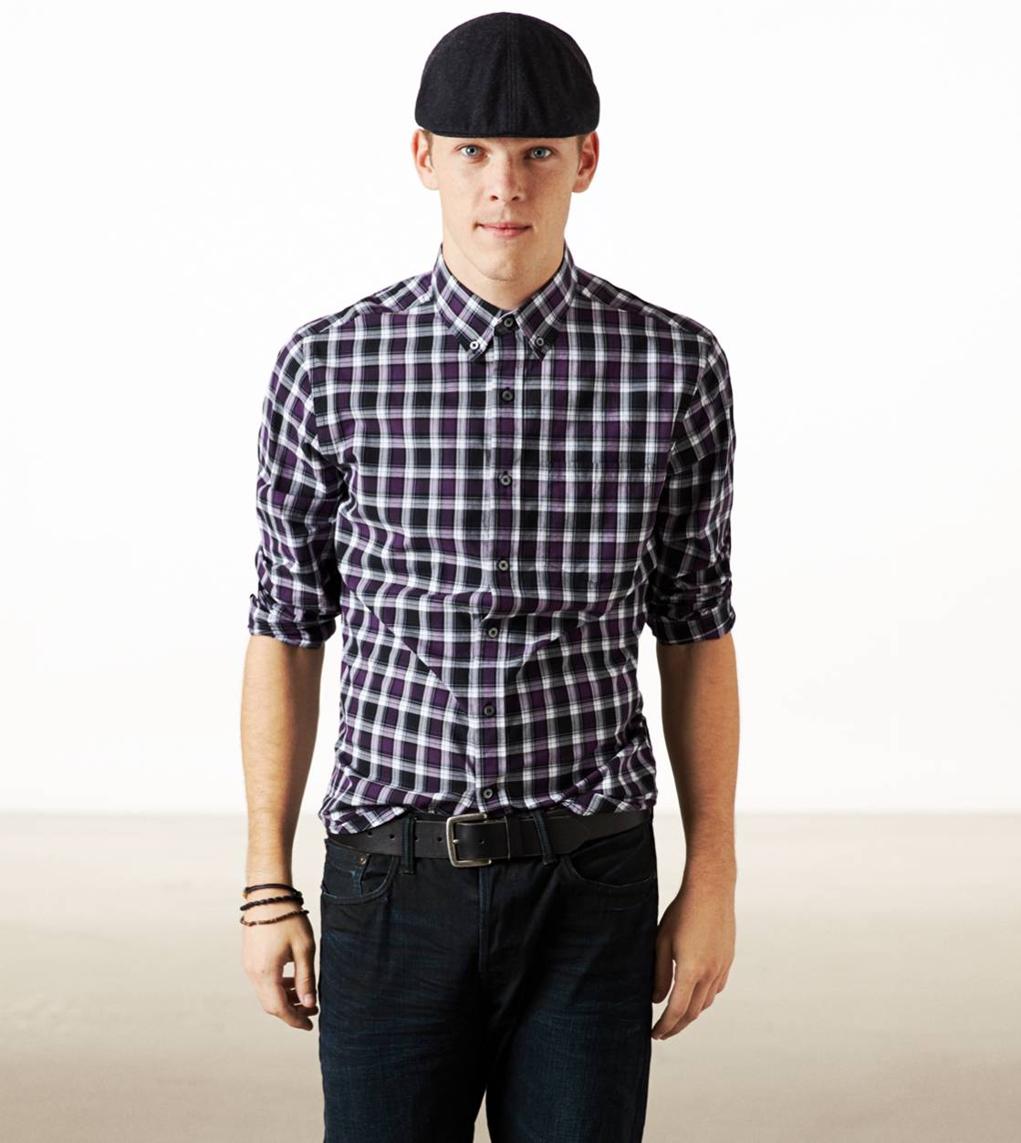 Aubergine AE Plaid Button Down Shirt