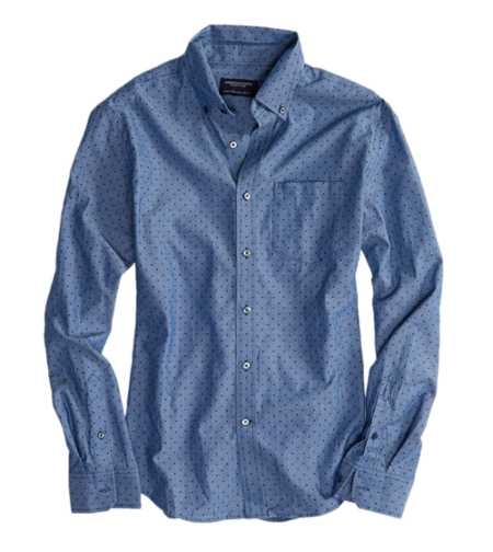 AE Printed Chambray Button Down Shirt - Slim Fit