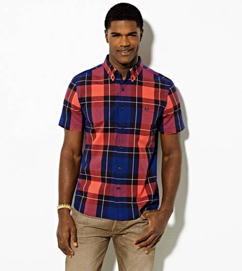 Black AEO Short Sleeve Plaid Button Down Shirt