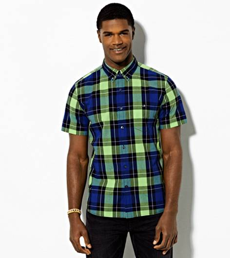 Firefly AEO Short Sleeve Plaid Button Down Shirt