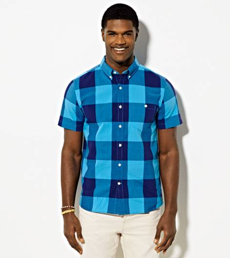 Tidal Blue AEO Short Sleeve Plaid Button Down Shirt