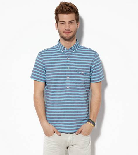 Turquoise AE Striped Popover Shirt