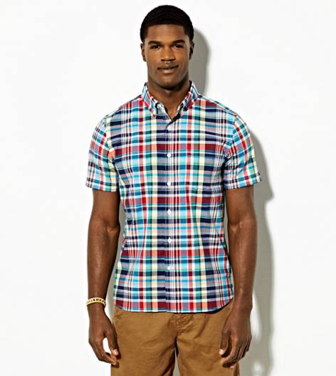 Blue AEO Short Sleeve Plaid Button Down Shirt