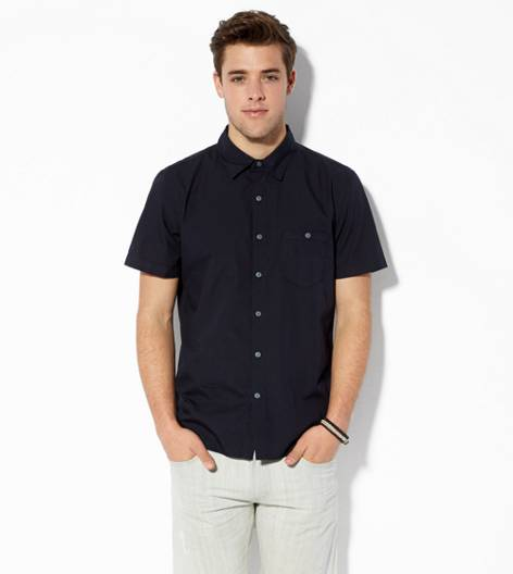 Black AEO Solid Short Sleeve Button Down Shirt