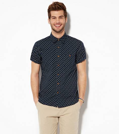 Navy AEO Links Short Sleeve Button Down Shirt