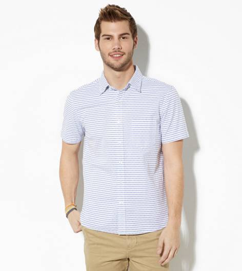 Navy AEO Short Sleeve Striped Button Down Shirt