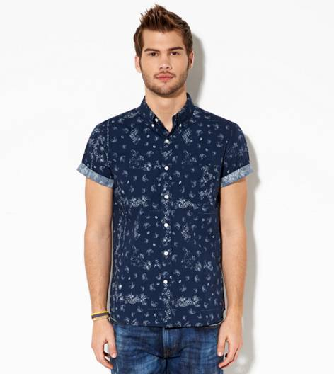 Navy AEO Printed Short Sleeve Button Down Shirt