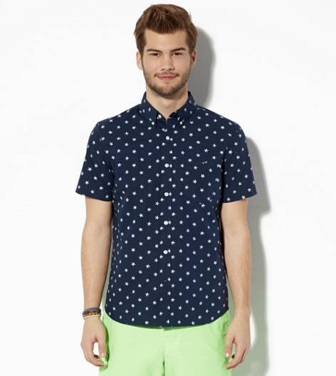 Navy AEO Stars Short Sleeve Button Down Shirt