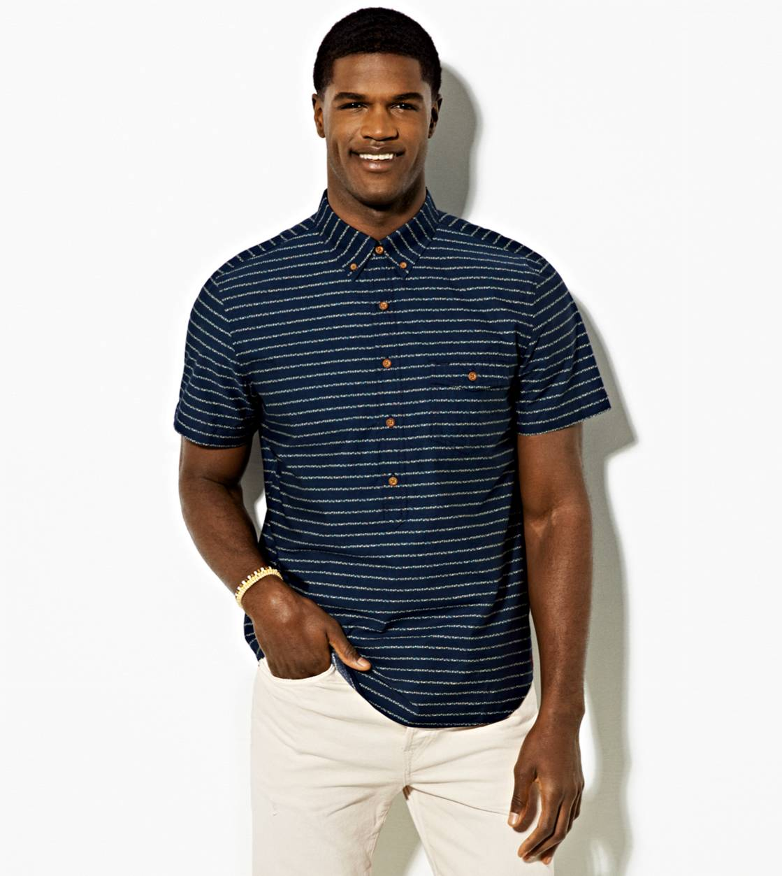 Navy AE Striped Short Sleeve Button Down