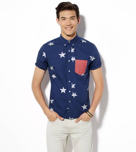 Blue AEO Stars Short Sleeve Button Down Shirt