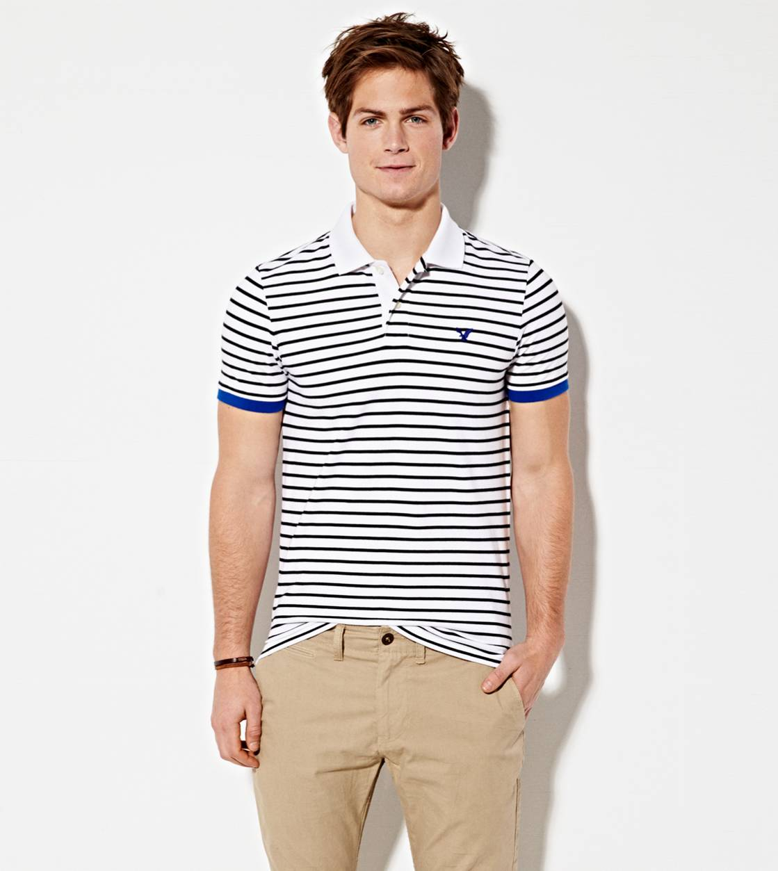 White  AE Striped Polo