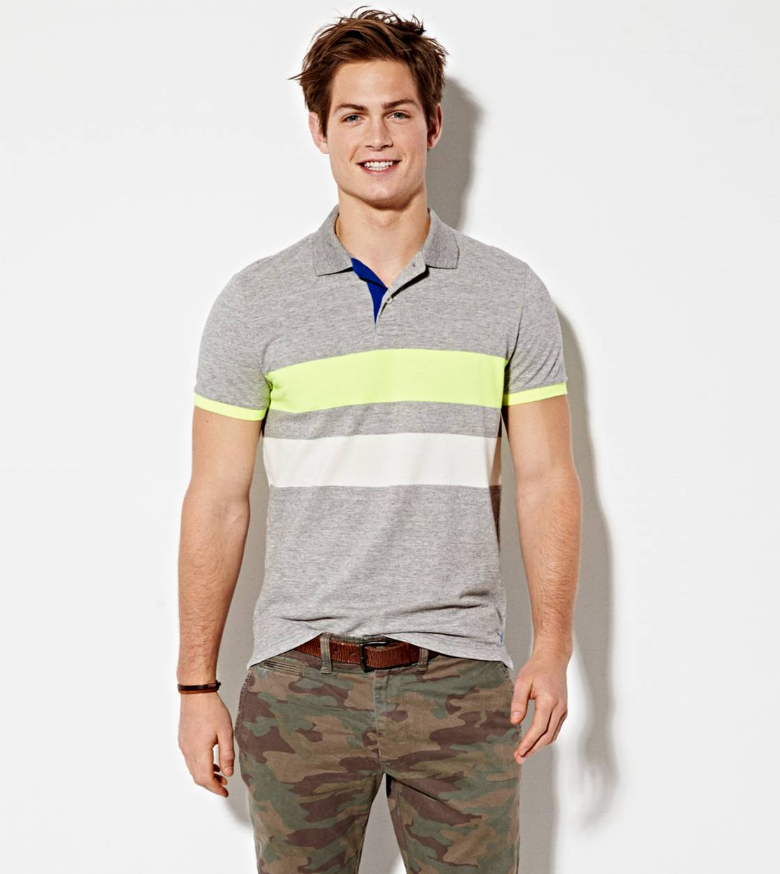 Derby Grey Marl AE Bold Stripe Polo