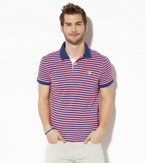 Pink AEO Striped Jersey Polo
