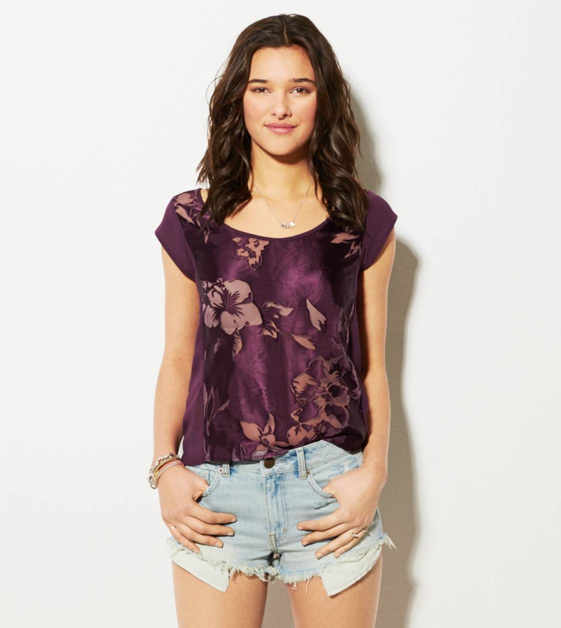Purple AE Silky Chiffon T-Shirt
