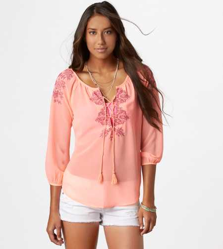 AE Embroidered Boho Top