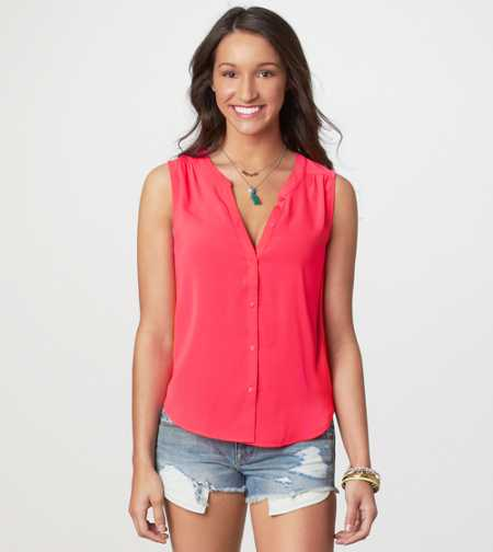AE Sleeveless Button Tank