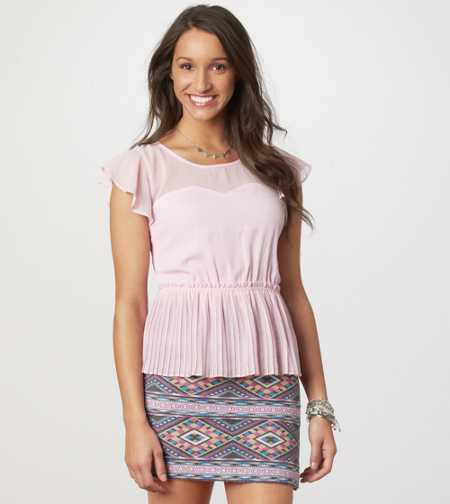 AE Pleated Peplum Top - Take 40% Off