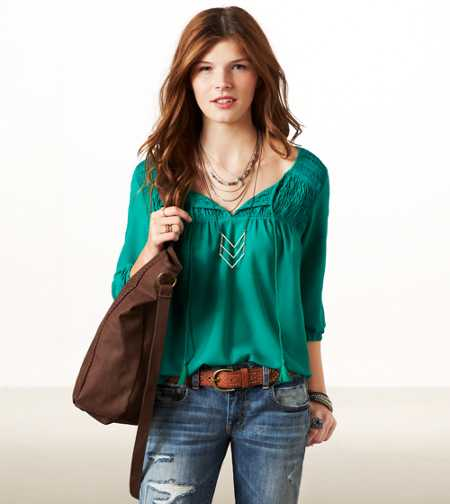AE Ruched Boho Top