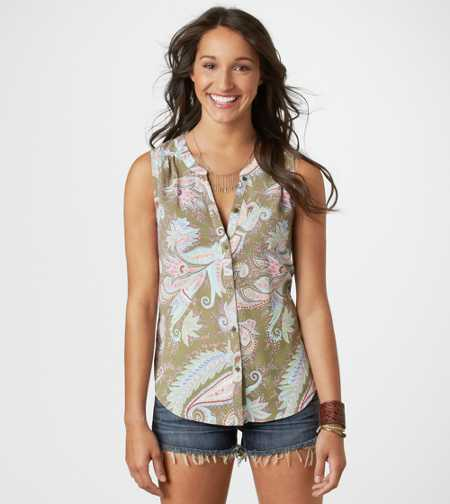 AE Paisley Button Tank