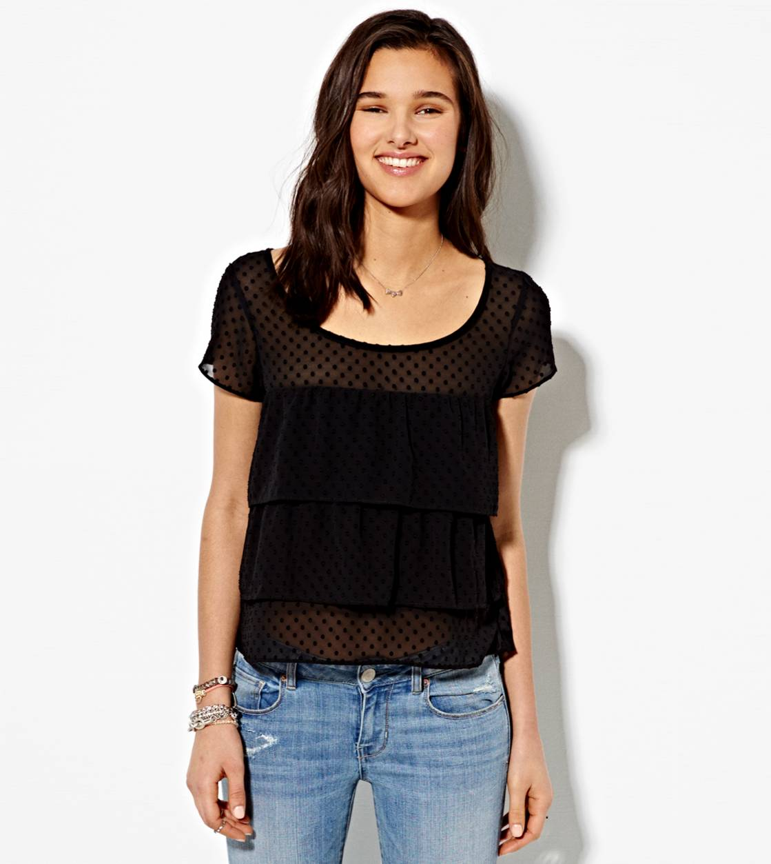 True Black AE Tiered Ruffle T-Shirt
