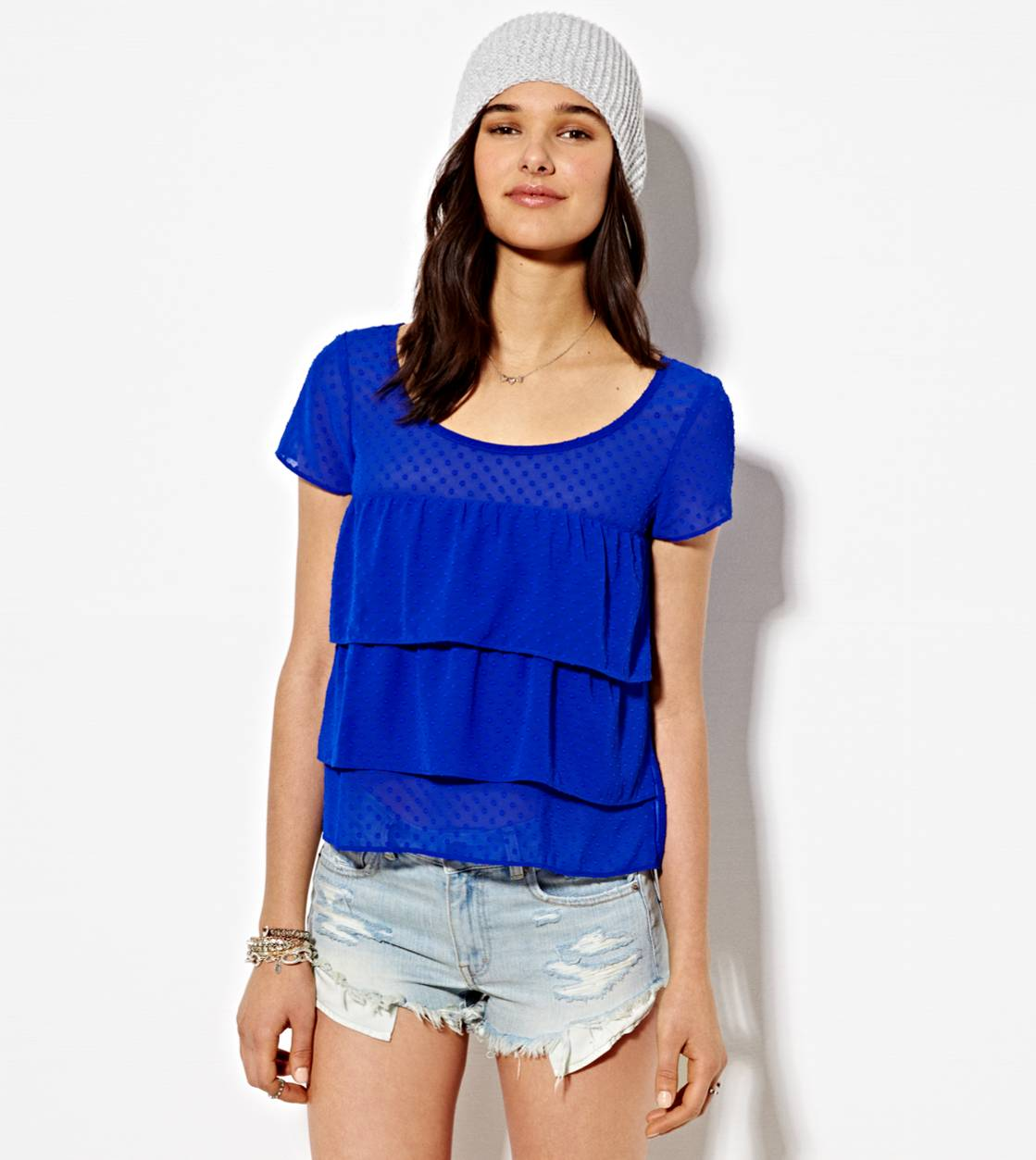 Cobalt Blue AE Tiered Ruffle T-Shirt