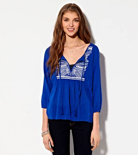 Cobalt Blue AE Embroidered Peasant Top