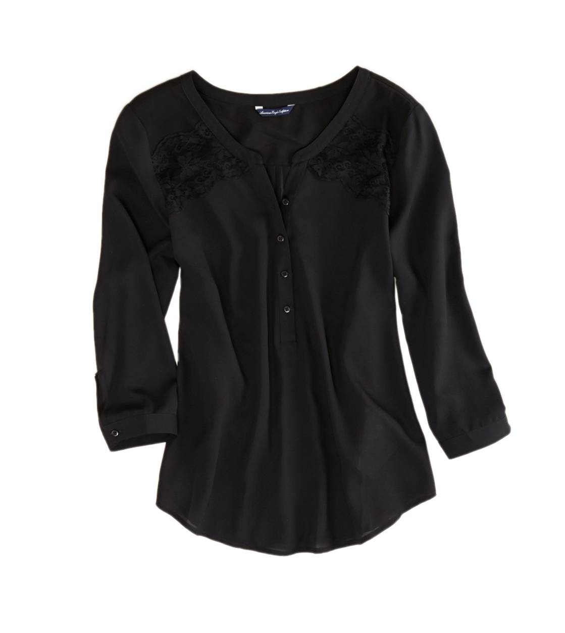 Black AE Paneled Lace Top