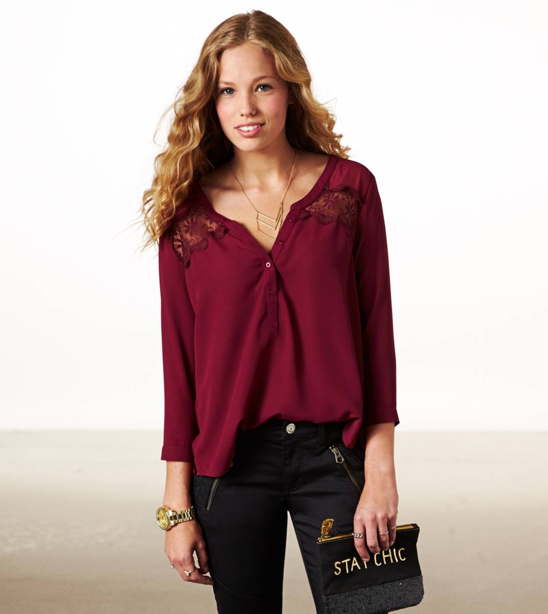 Burgundy AE Paneled Lace Top