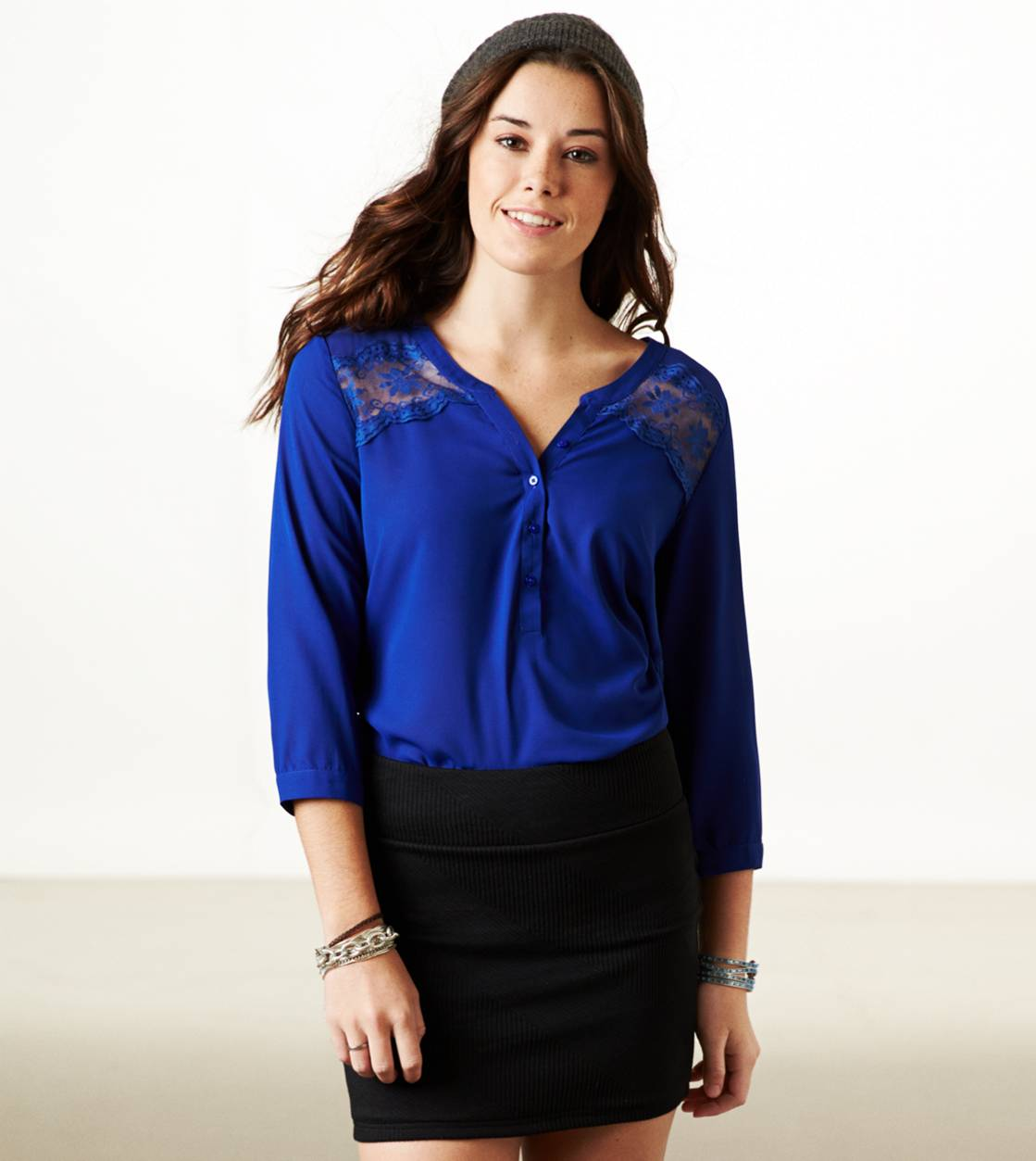 Cobalt Blue AE Paneled Lace Top