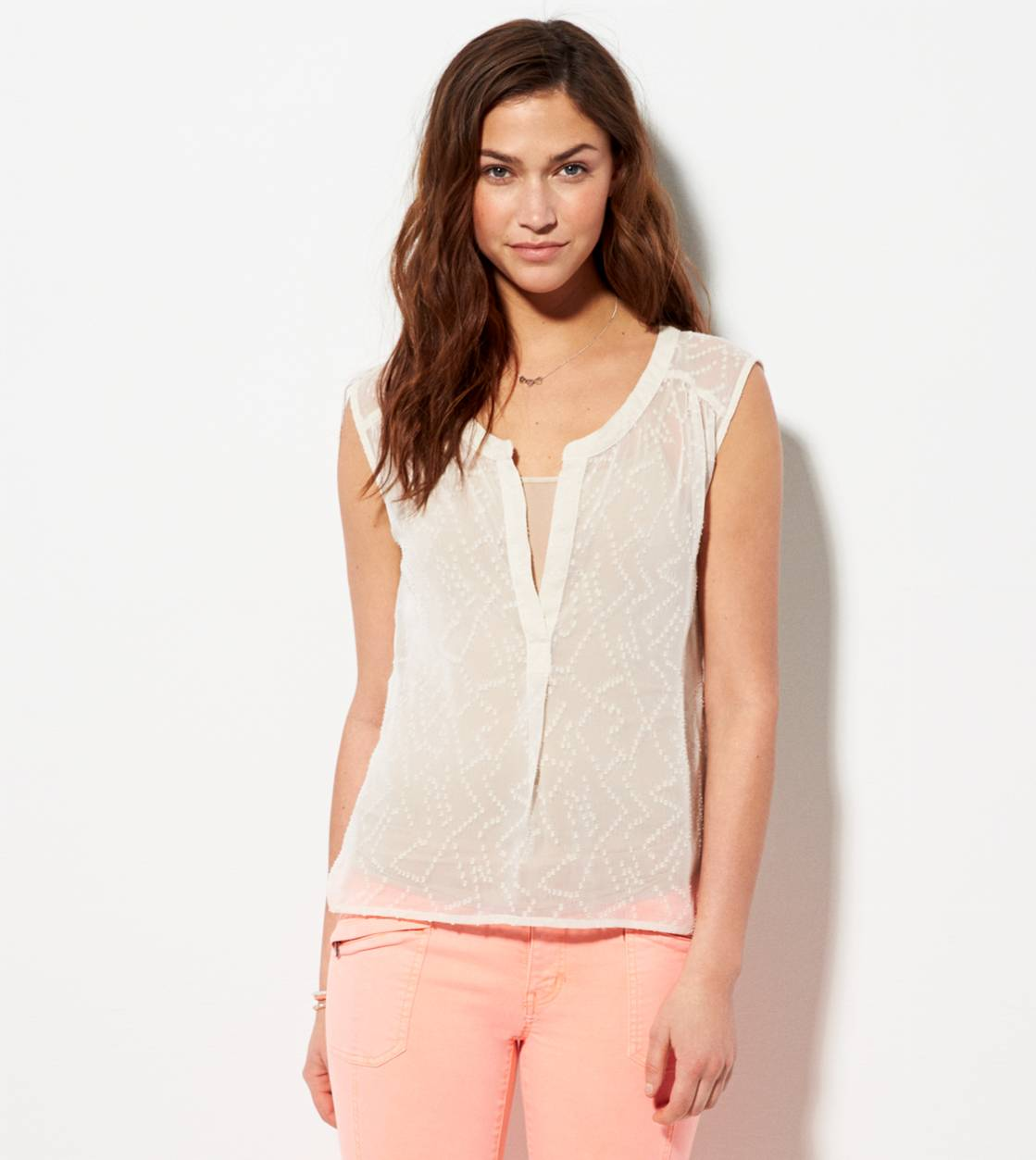 Creme Brulee AE Textured Chiffon Sleeveless Shirt