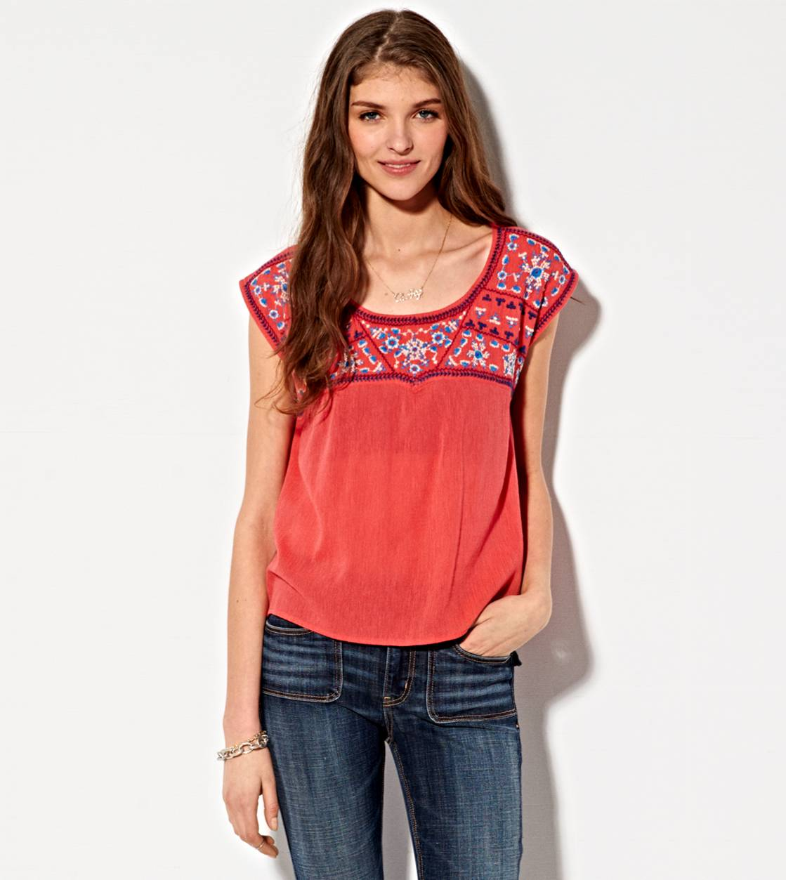Teaberry AE Gauzy Embroidered T-Shirt