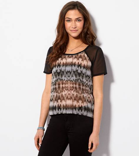 Black AE Striped Chiffon T-Shirt