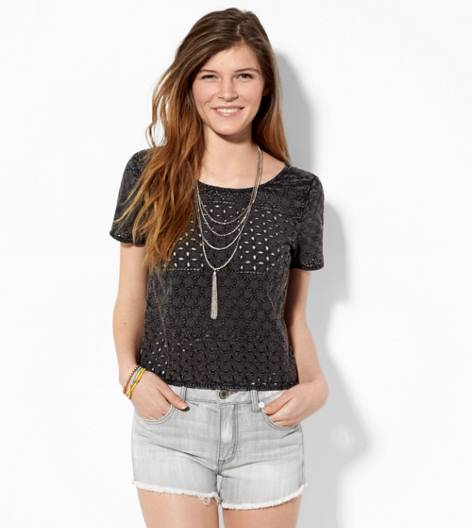Black AE Cropped Eyelet Tee