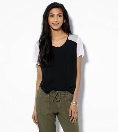 Black AEO Colorblock Chiffon Shirt