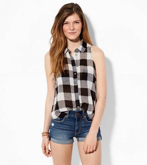 Black AE Sleeveless Plaid Button Down