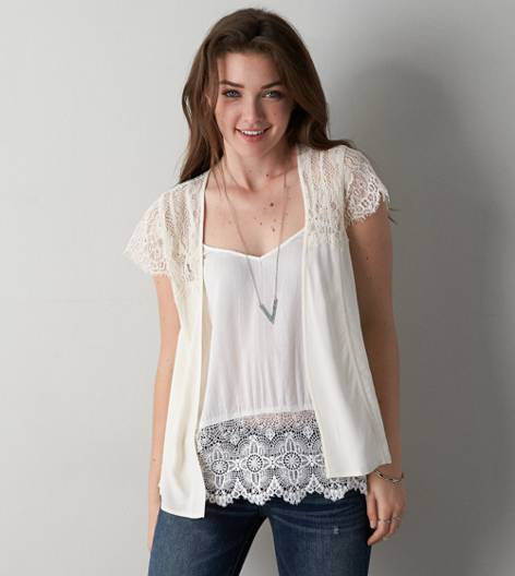 Crepe Cream AEO Silky Komono Top