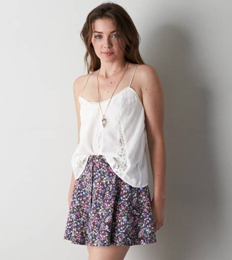 Crepe Cream AE Pleated Lace Tank