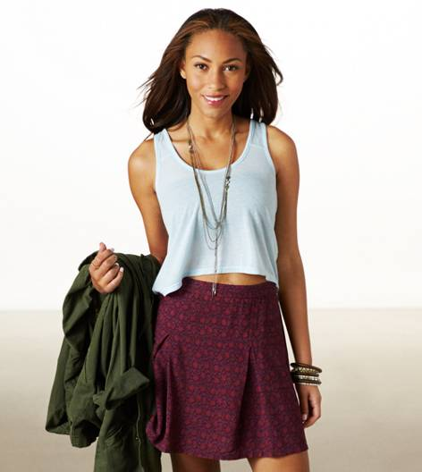 Indigo Heather AE Chiffon Back Crop Tank