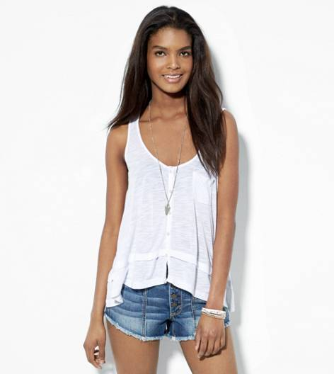 White  AEO Flowy Button Front Tank